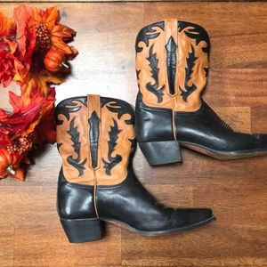 🖤🍁Charlie 1 Horse Black and Tan Leather Boots